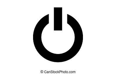 Icon power vector button black isolated on white background
