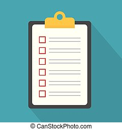 icon-, presse-papiers, liste contrôle, illustration, vecteur