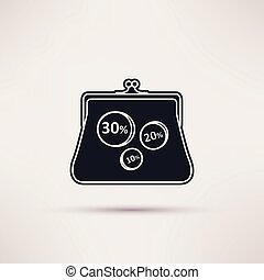 Icon purse, isolated vector object from the background