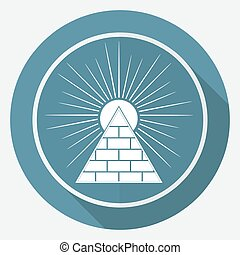 Icon Pyramid on white circle with a long shadow