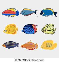 Icon reef fish set.
