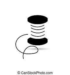 Icon reel of thread black on a white background.