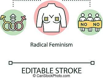 icon., rgb, vector, geslacht, vrouwen, lijn, gelijkheid, editable, vrijstaand, demonstratie, empowerment, illustration., vrouwlijk, schets, ideologie, drawing., suprematie, feminism, beweging, kleur, radicaal, slag, concept, mager