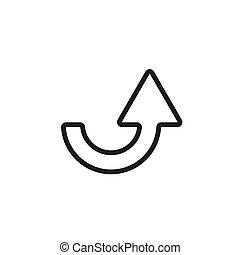 icon-, richtingwijzer, witte , illustratie, achtergrond., eps10, lijn