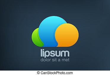 icon., rigolote, nuage, bavarder, logo., clair, conversation