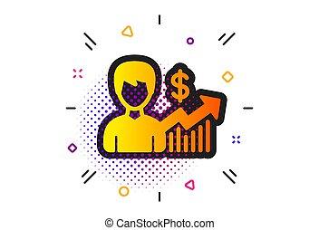 icon., risultati, dollaro, vettore, segno., affari