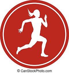icon running sprint female athlete runner white silhouette...