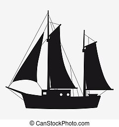 Icon sailboat, boat, yacht side view silhoutte. Vector, isolated simple style symbol sign and button