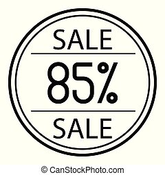 Icon sales with percent on a white background. 85