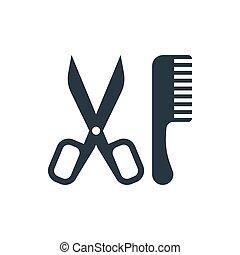 icon scissors and comb