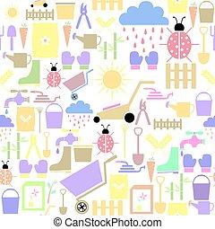 icon., seamless, fond mönstra, trädgårdsarbete