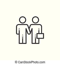 icon., services., 선형, 사업, 동의, 협정, 계약