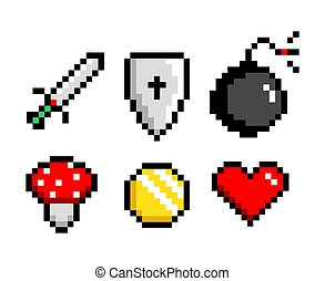 Icon Set 8-bit Pixel Art Sword Bomb Poisonous Mushroom Coin Heart. Game assets. Isolated vector illustration.