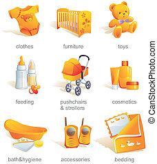 Icon set - baby shopping, clothes, furniture, toys, feeding, pushchairs, cosmetics, bath, hygiene, accessories, bedding. Aqua style. Illustration