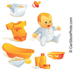 Icon set - baby hygiene. Illustration