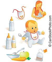 Icon set - baby feeding. Breast-feeding, bib, nursing-bottle, solid food, tea-bag. Illustration. More of the series in portfolio.