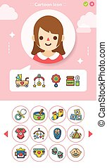 icon set baby vector