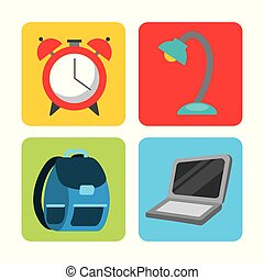 icon set back to school