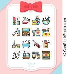 icon set beuty vector