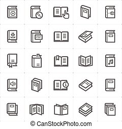 Icon set - book outline stroke vector illustration