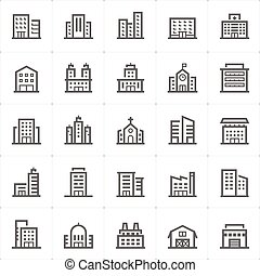 Icon set - Building outline stroke vector illustration