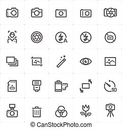 Icon set - camera and photograph outline stroke vector illustration
