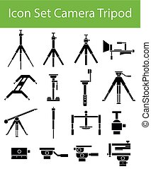 Icon Set Camera Tripod with 16 icons for the creative use in...