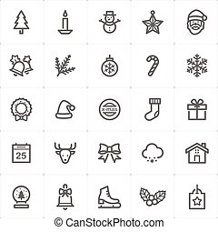 Icon set - Christmas outline stroke vector illustration