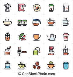 Icon set - coffee and tea outline stroke with color vector illustration on white background