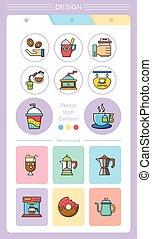 icon set coffee vector