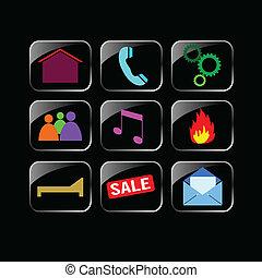 icon set color on black background