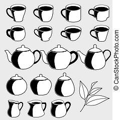 Icon set cups of tea, milk jugs, teapots and sugar basin. Vector illustration.