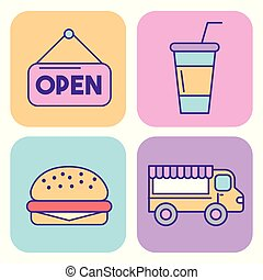icon set delicious fast food