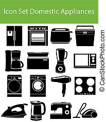 Icon Set Domestic Appliances I with 16 icons for the creative use in graphic design
