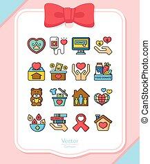 icon set donate vector