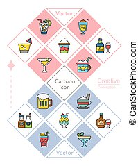 icon set drink vector