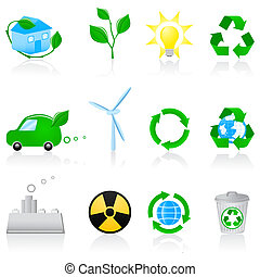 Illustration with environmental icons