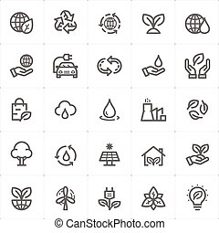 Icon set - environment outline stroke vector illustration