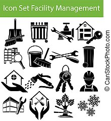 Icon Set Facility Management with 16 icons for the creative...
