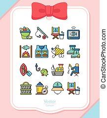icon set fishing vector