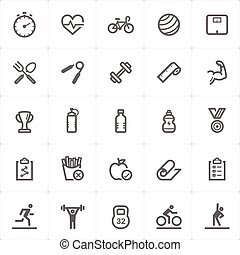Icon set - Fitness outline stroke vector illustration