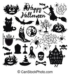 icon set for Halloween on a white background
