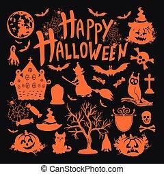 icon set for Halloweenon black background