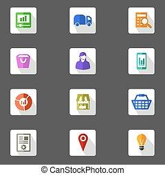 Icon set for marketing planning flat design icons