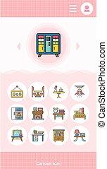 icon set furniture vector