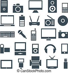 Icon set of gadgets, computer equipment and electronics.