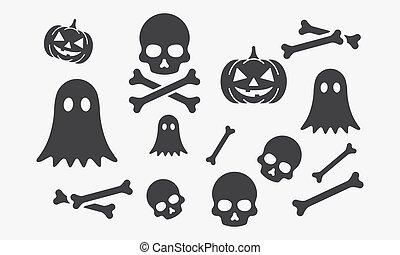 icon set halloween. vector illustration. isolated on white background.