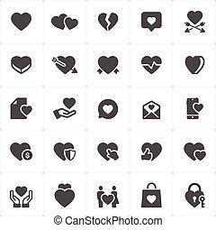 Icon set - heart vector illustration on white background