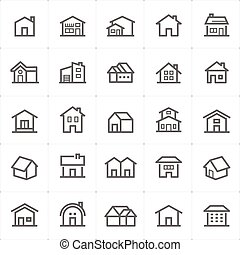 Icon set - Home outline stroke vector illustration