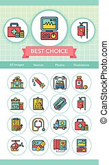 icon set hospital vector